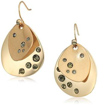 Kenneth Cole New York Scattered Pave Gold Tone and Double Drop Earrings