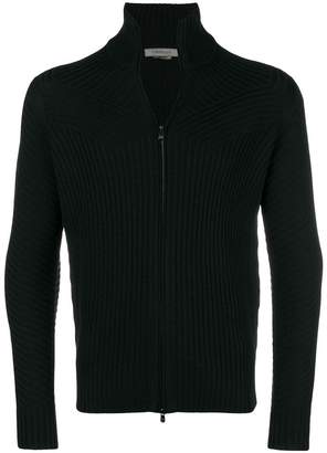 Corneliani rib knit zipped cardigan