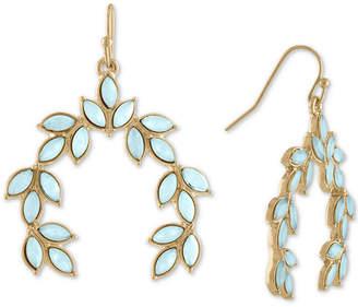 Rachel Roy Gold-Tone Colored Stone Leaf Drop Earrings