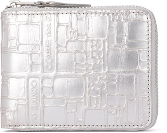 Comme des Garcons Wallet Silver Leather Wallet With Print