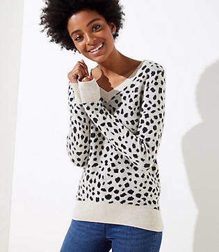LOFT Leopard Print V-Neck Sweater