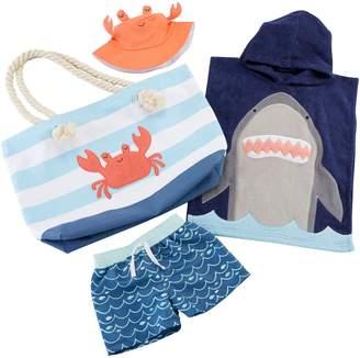Baby Aspen Shark Hooded Towel, Swim Trunks, Sun Hat & Tote Set