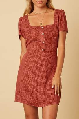 Cotton Candy Square-Neckline Polka-Dot Mini-Dress