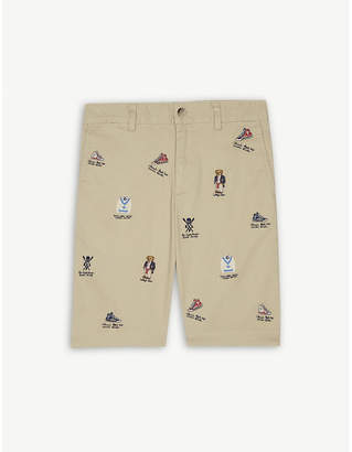 Ralph Lauren Embroidered cotton-blend chino shorts 2-16 years