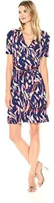 Ellen Tracy Women's Printed Faux Wrap Dress