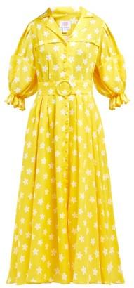 Gül Hürgel Floral Print Linen Midi Dress - Womens - Yellow Print