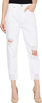 7 For All Mankind Women's High Waist Boyfriend Jean with Knee Holes and Destroyed Hem