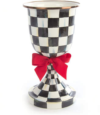 Mackenzie Childs Courtly Check Pedestal Vase with Red Bow