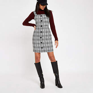 River Island Grey check button front pinafore dress