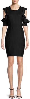 BCBGeneration Women's Short-Sleeve Cold-Shoulder Ruffle Dress