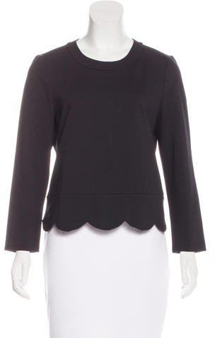 Kate Spade New York Scallop Trimmed Long Sleeve Top
