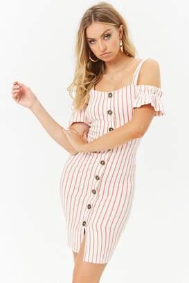 Forever 21 Striped Open-Shoulder Dress