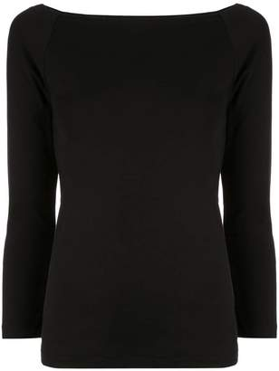 abbf022eff61d Black Boat Neck Top - ShopStyle