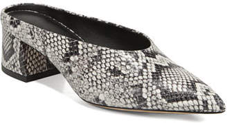 Vince Ralston Snake-Print Leather Mules