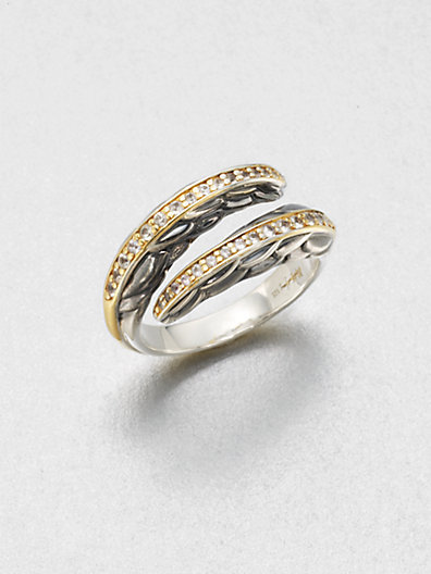 Elizabeth and James White Sapphire Accented 23K Gold & Sterling Silver Wrap Ring