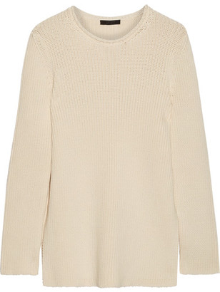 The Row - Selina Ribbed Cotton-blend Sweater - Ecru $1,150 thestylecure.com