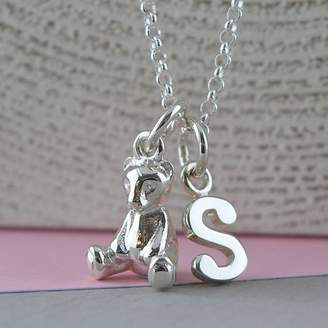 92a0f823cc1 Lily Charmed Teddy Bear Charm Necklace With Personalised Message