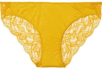 Hanro Fleur Stretch-satin And Leavers Lace Briefs - Marigold