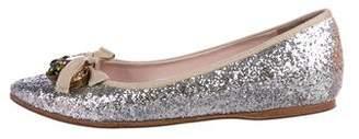 Miu Miu Embellished Pointed-Toe Flats