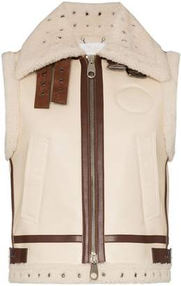 Chloé shearling trim leather gilet