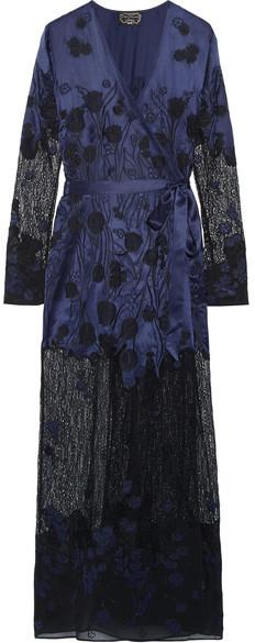 Agent ProvocateurAgent Provocateur - Anissa Appliquéd Silk-satin And Lace Robe - Midnight blue