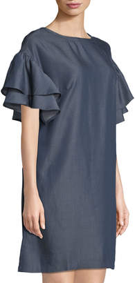 Label By 5twelve Double-Ruffle-Sleeve Chambray Shift Dress