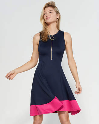 DKNY Zip-Up Fit Flare Dress