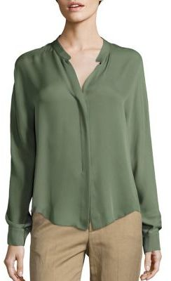 Vince Long Sleeve Double Front Silk Blouse $295 thestylecure.com