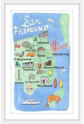 Marmont Hill San Francisco Map 40-Inch x 60-Inch Framed Wall Art