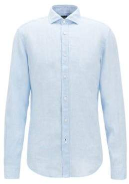 BOSS Hugo Slub Linen Sport Shirt, Slim Fit Ridley XL Dark Blue