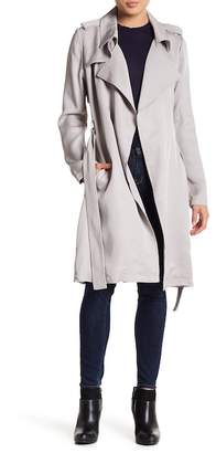 Bagatelle Knee Length Faux Leather Belted Jacket