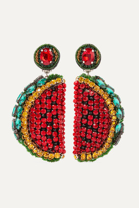 Ranjana Khan Le Melon Silver-tone, Leather, Crystal And Bead Clip Earrings - Red