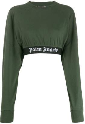 Palm Angels cropped logo sweatshirt