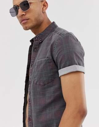 Asos Design DESIGN skinny denim check shirt square collar