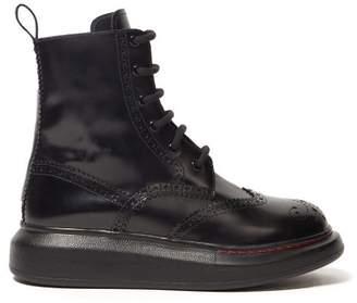 Alexander McQueen Brogue Platform Sole Leather Boots - Womens - Black