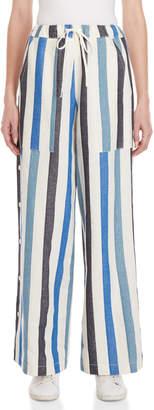 Avn Striped Drawstring Wide Leg Pants
