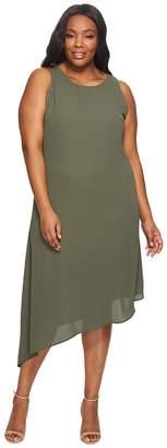 Karen Kane Plus Plus Size Sheer Asymmetric Hem Dress Women's Dress