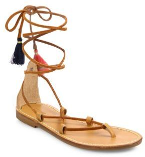 Soludos Leather & Cotton Lace-Up Flat Sandals $99 thestylecure.com