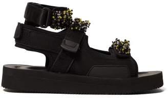 Suicoke Cecilie Bahnsen - X Aurelia Beaded Velcro Strap Sandals - Womens - Black Multi