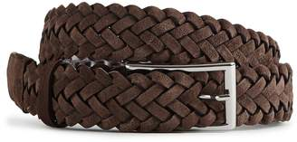 Reiss PIERCE SUEDE WOVEN BELT Dark Brown