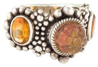 Stephen Dweck Quartz & Citrine Granulated Three Stone Ring