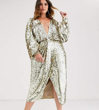 Asos Edition EDITION Curve batwing midi dress in sequin