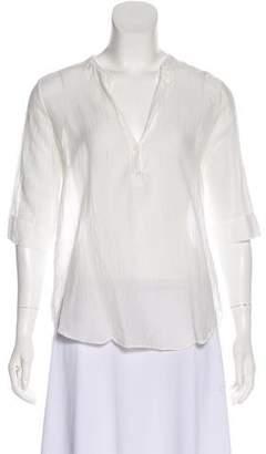 Raquel Allegra Short-Sleeve Button-Up Top