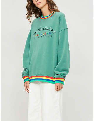 Benetton Unisex rainbow logo-embroidered cotton-jersey sweatshirt