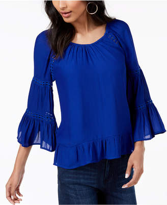 INC International Concepts I.n.c. Petite Tiered-Sleeve Ruffled Peasant Top, Created for Macy's