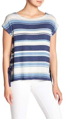 Max Studio Side Lace-Up Stripe Tee