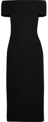 Elizabeth and James - Marbella Off-the-shoulder Ribbed Stretch Wool-blend Dress - Black $495 thestylecure.com