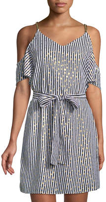 MICHAEL Michael Kors Chained Cold-Shoulder Striped Dress