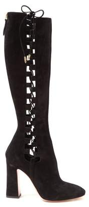 Aquazzura Medina 105 Lace Up Knee High Boots - Womens - Black
