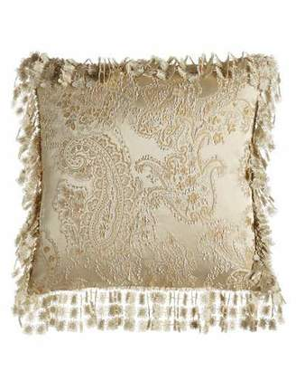 "Isabella Collection by Kathy Fielder Montfort Reversible Ogee/Paisley Pillow, 20""Sq."